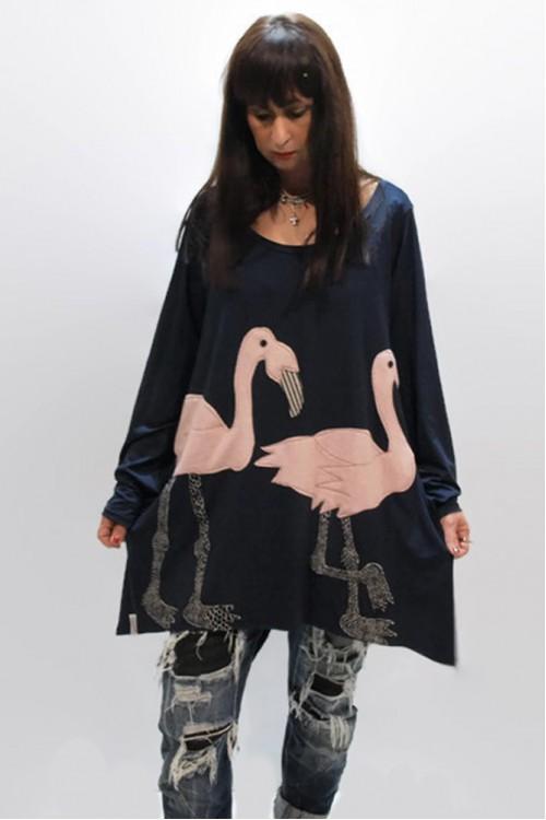Μπλουζοφόρεμα με απλικέ παράσταση φλαμίγκο