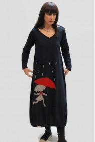 Φόρεμα με απλικέ παράσταση κοριτσάκι με ομπρέλα