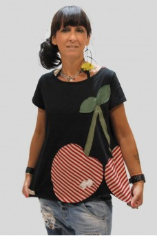 Μπλούζα με απλικέ παράσταση ριγέ κεράσια