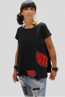 Μπλούζα με απλικέ παράσταση καρπούζι