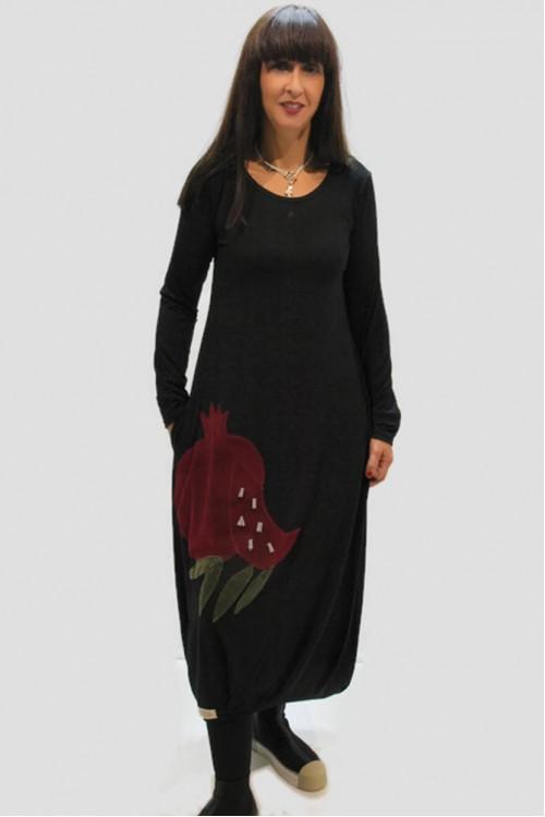 Φόρεμα με απλικέ παράσταση ρόδι