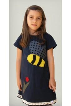 Φόρεμα με απλικέ παράσταση μέλισσα και λουλούδι